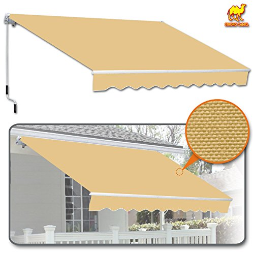 Strong Camel 8' x 6.6' Manual Yard Retractable Patio Deck Awning Cover, Canopy Sunshade (Beige)
