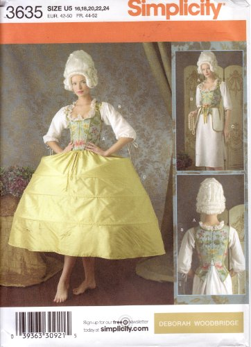 - Simplicity Sewing Pattern 3635 Misses 18th Century Undergarments, Corset, Chemise, Panniers (Hoop Skirt)