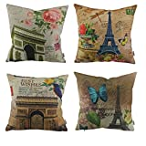 Thanksliving 4pcs Set Of Famous Building Gift Print Decorative Pillowcase Extra Thick And Soft Cushion Cover Throw Pillow Cover, (Eiffel Tower & Triumphal Arch)