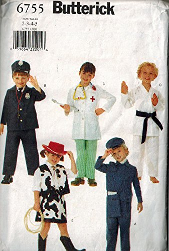 Butterick 6755 Size 2 - 3 - 4 - 5 Easy Costumes: oys Girls Costumes Policeman Doctor Karate Cowgirl (Easy Cowgirl Costume)