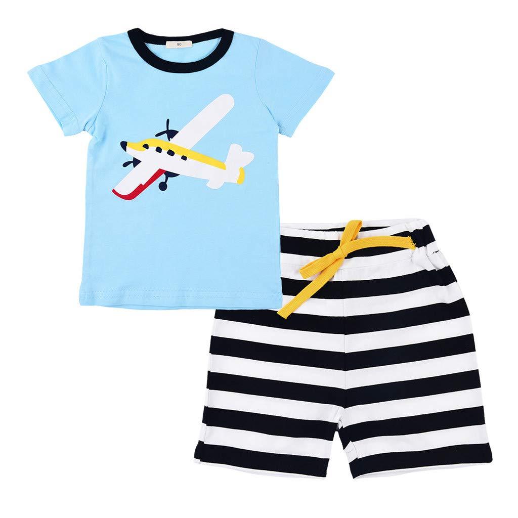 SIN vimklo Boy 2 Pcs Aircraft Tops T-Shirt Tee Stripe Short Pant Casual Outfit