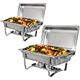 ZENY 8 Quart Full Size Stainless Steel Chafing Dish with Folding Frame Water Pan and Chafing Fuel Holder,Complete Chafer Set (Pack of 2)