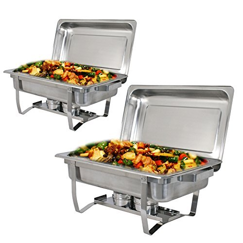 ZENY Pack of 2 Full Size Stainless Steel 8 Quart Chafing Dish with Water Pan and Chafing Fuel Holder Complete Catering Buffet Warmer Set