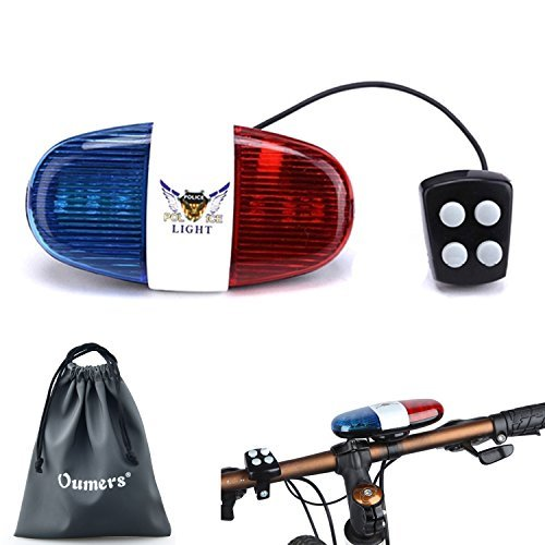 Oumers Bicycle Police Sound Light, Bike LED Light Electric Horn Siren Horn...