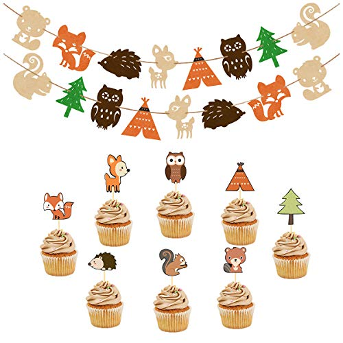 Woodland Party Supplies Set Forest Animal Friends Themed Banner Cupcake Toppers Baby Shower Birthday Party Decorations (48 pcs Toppers + 2 set Banners)]()