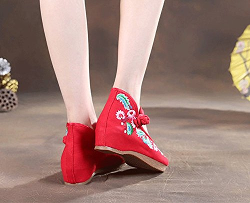 Avacostume Womens Mary Jane Shoes Ricamo Floreale Zeppa Rosso