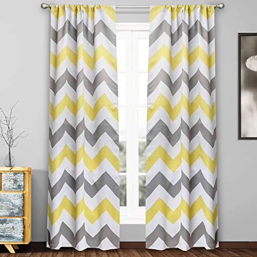Duck River Textile Fifferly Chevron Insulated Blackout Room Darkening Window Curtain Set of 2 Panels, 78 X 84 Inch, Grey & Yellow & White (Yellow Curtain Chevron)