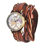 MINILUJIA Travel The World Watch Women Watches Soft Leather Double Wrap Traval Word Map Watch Men Watch Brown(15.95'' Length)