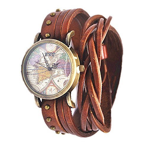 MINILUJIA Women Watches Soft Leather Wrap Traval Word Map Watch Men Watch Brown(15.95