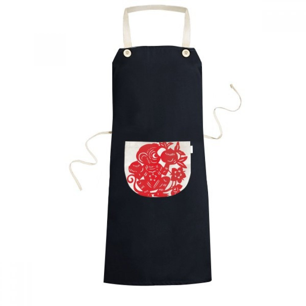 cold master DIY Zodiac Monkey Papercut China Chinese Traditional Culture Art Window Flowers Cooking Kitchen Black Bib Aprons With Pocket for Women Men Chef Gifts