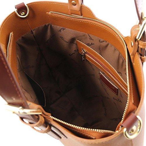 TLBag Cognac Sac Tuscany Saffiano Cuir en Leather foncé Main à Bleu T5EFUvq