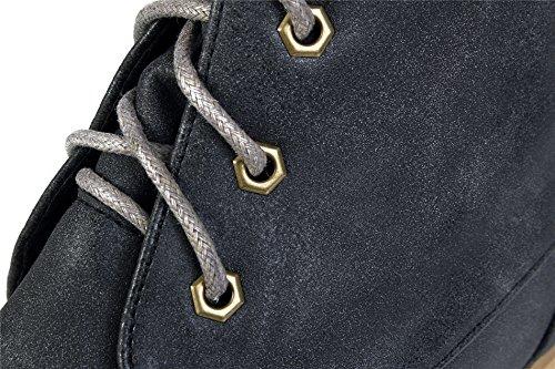 AgeeMi Shoes Mujer Cordones Mini Tacón Sólido Caña Alta Botas Gris