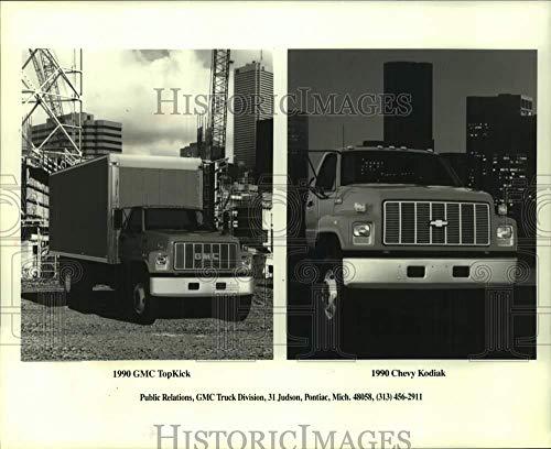 Vintage Photos 1990 Press Photo GMC Trucks, The TopKick and The Chevy Kodiak - mjc31447