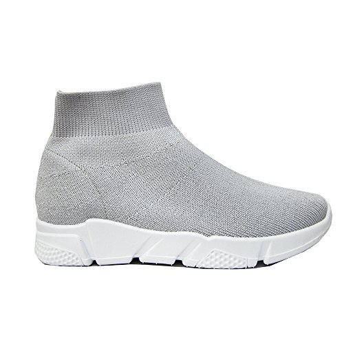 Popposhoes Ginnastica No Fitness Scarpe Style Donna Sneakers Grigio Palestra Corsa Calzino Lacci Brillantinato 1xqr1Sn