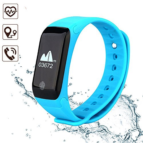 LEELVIS Smart Wristband Bluetooth Heart Rate Monitor, Waterproof Sports Pedometer Bracelet with Calories Tracking, Sedentary Reminder Fitness Tracker for iOS Android Cell Phone(Blue) by LEELVIS