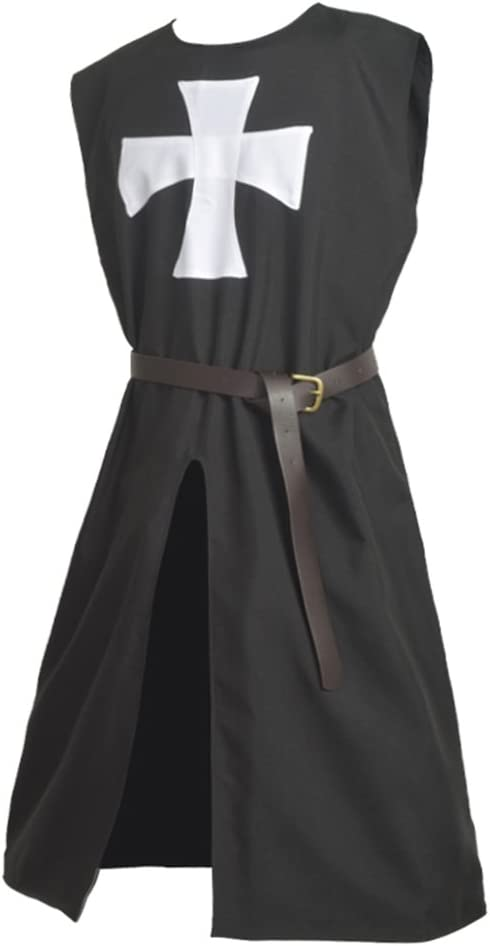 BLESSUME Hospitalario Caballero Sayo Medieval Sobretodo con Cinturón (Negro 1)