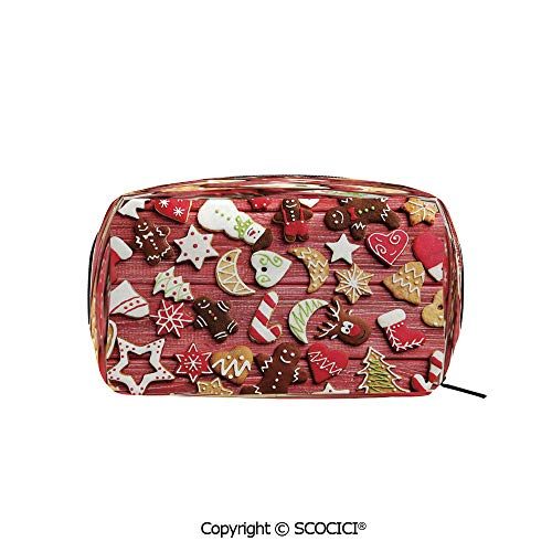 Printed Portable rectangle Makeup Cosmetic Bag Variety of Christmas Cookies on Wooden Table Traditional Sugary Treats Durable storage bag for Women Girls