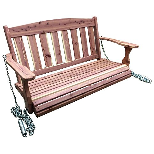 AmeriHome Amish Made 4 ft. Unfinished Cedar Traditional Porch Patio Swing - Unfinished Swing