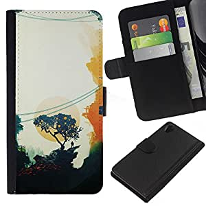 All Phone Most Case / Oferta Especial Cáscara Funda de cuero Monedero Cubierta de proteccion Caso / Wallet Case for Sony Xperia Z2 D6502 // Painting Oriental Sunset Trees Minimalist