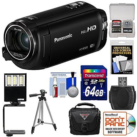 Panasonic HC-W580 Twin Wi-Fi HD Video Camera Camcorder with 64GB Card + Case + Tripod + LED Light + Reader + (Jvc Everio Sd Card)