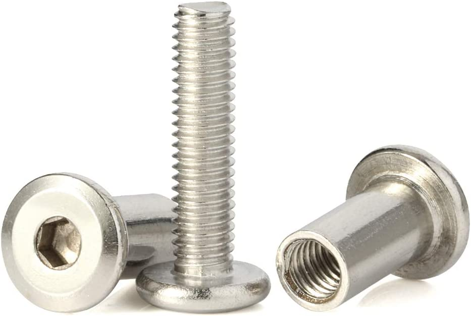 M6 x 18mm Socket Cap Furniture Bolts with Barrel Nuts for Furniture Cots Beds Crib and Chairs, Stainless Steel 18-8 (304), 10 Pairs