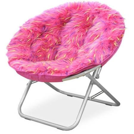 Fluffy Spike Faux Fur Moon Chair - Pink