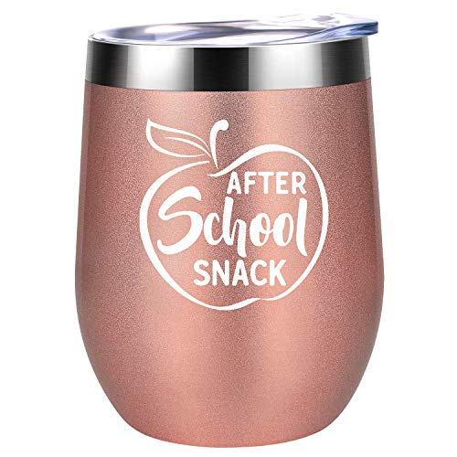 (After School Snack | Teacher Appreciation Gifts for Women | Funny Teacher's Day, Thank you, Birthday Wine Gift for Teachers | Best End of the Year Graduation Teacher Gifts | Coolife 12 oz Wine Tumbler)