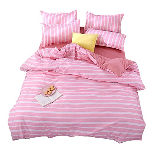 TTMALL Bedding sets 3-pieces Microfiber Duvet Cover Set Full Queen Size, White And Pink Stripes Striped Patterns Design Prints,Without Comforter (Full/Queen, (1Duvet Cover+2Pillowcases)#07) ()