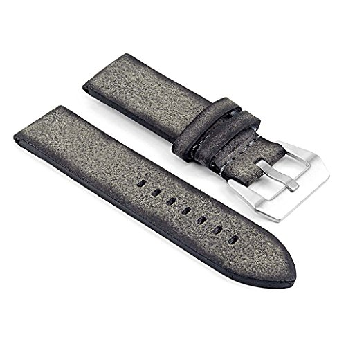 DASSARI Opus Thick Vintage Italian Leather Watch Band in Grey 20mm (Opus Strap)