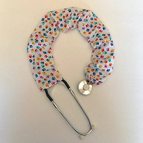 Stethoscope Covers Handmade Variety Patterns Colors 100% Cotton Scrunchie (Rainbow Paw Prints)