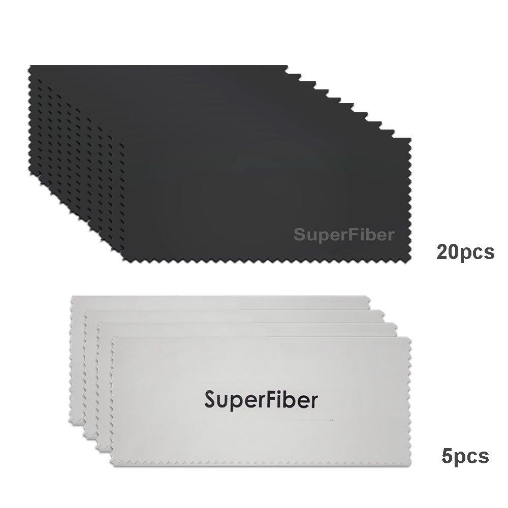 LS Photography 6'' x 7'' (20 PCS) Black SuperFiber (4 PCS) Gray SuperFiber Lens Cleaning Cloth, LGG199