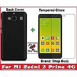 Shop Buzz Ombo Of Back Cover + Tempered Glass - Xiaomi Redmi 2 Prime 4G (Black Back Cover For Mi Redmi 2 Prime)