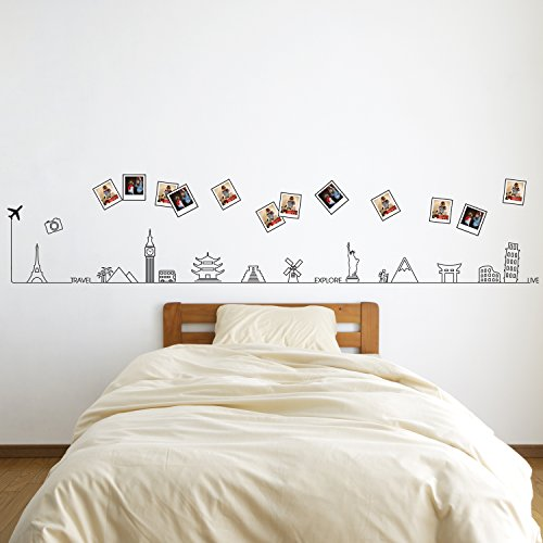 Removable Self-Adhesive Wall Stickers Travel Around The World Glow in the Dark Line Mural Art Decals Vinyl Home Decoration DIY Living Bedroom Décor Wallpaper Kids Room Gift 280x40 cm, Yellow by Walplus