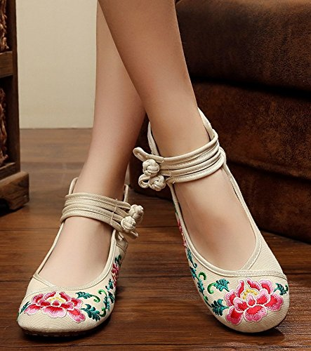 Avacostume Mujeres Embroideried Floral Pattern Tobillo Strappy Dancing Dress Zapatos Beige