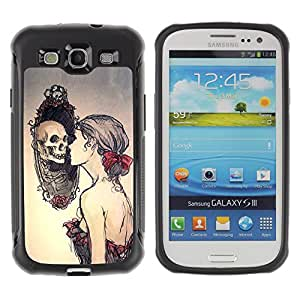 SHIMIN CAO@ Skull Relection Miror - Goth Rugged Hybrid Armor Slim Protection Case Cover Shell For S3 Case ,I9300 Case Cover ,I9308 case ,Leather for S3 ,S3 Leather Cover Case