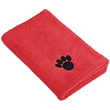 """DII Bone Dry Microfiber Pet Bath Towel with Embroidered Paw Print, 44x27.5"""", Ultra-Absorbent & Machine Washable for Small, Medium, Large Dogs and Cats-Red"""