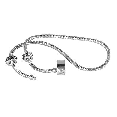 Plata cadena de serpiente encanto pulsera con 2tapones y zapato de tacón con cierre magnético de un Plus 3plata charms como un decorativos, Vivid Rosa Anillo De Diamante Y Plata Lifebuoy