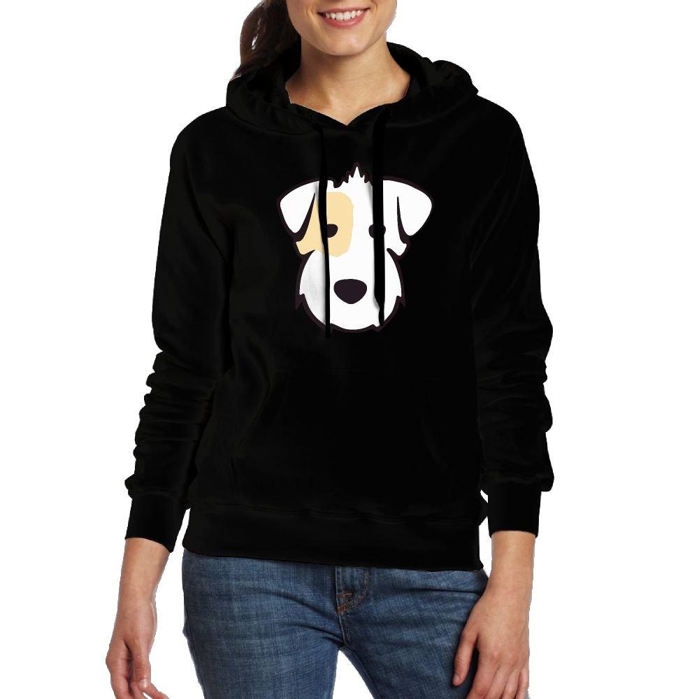 DADALING Mr Mogley Fuuny Dog Women Black Long Sleeve Drawstring Hoodie Hooded Sweatshirt With Pocket