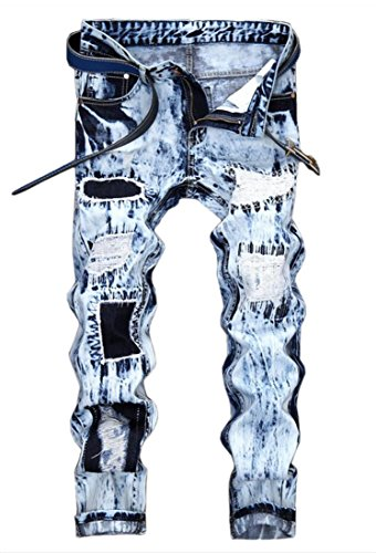 Men's Snow Washed Ripped Slim Fit Jeans Blue 32