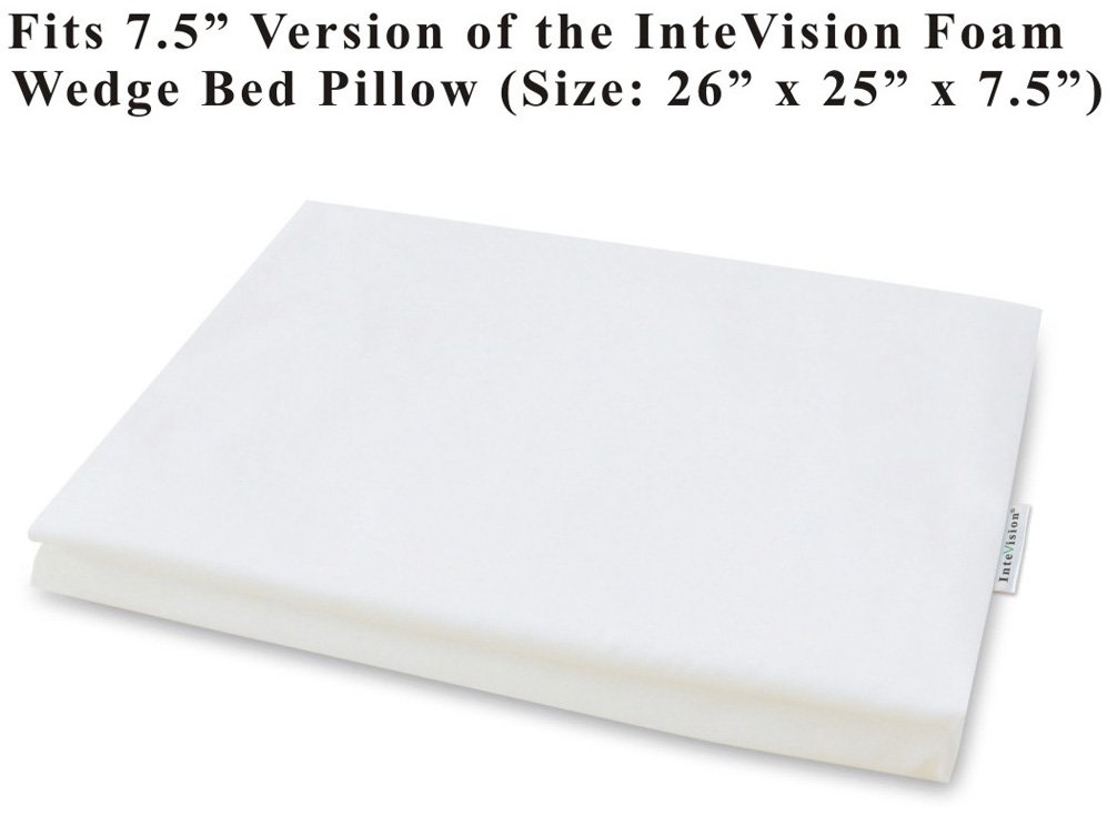 "InteVision 400 Thread Count, 100% Egyptian Cotton Pillowcase. Designed to Fit the 7.5"" version of the InteVision Foam Wedge Bed Pillow (26"" x 25"" x 7.5"")"