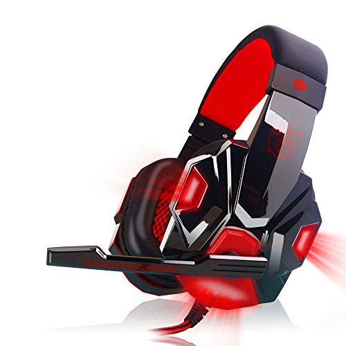Anferstore Surround Stereo Gaming Headset Headband Headphone,USB 3.5mm Mic Noise Cancelling With LED Light,Suitable for Laptop, Mac, iPad, Computer etc (Red) by Anferstore (Image #5)
