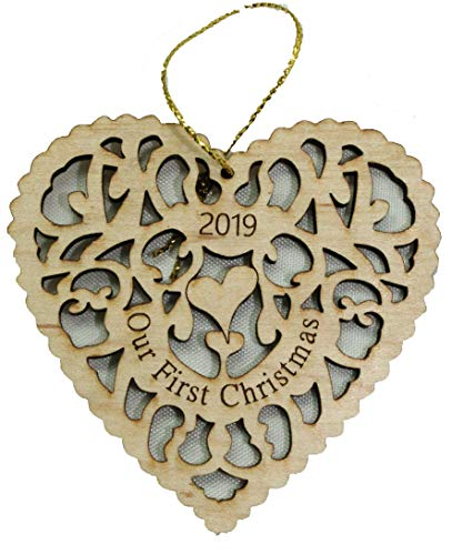 Twisted Anchor Trading Co Our First Christmas Ornament 2019 Heart Shaped Laser Cut Wood Marriage Wedding Ornament - Comes in an Organza Bag so It's Ready for Giving
