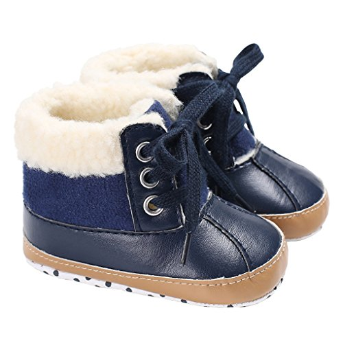 - LINKEY Baby Boys Suede Metallic Leather Stitching Fur Lined Lace-Up Ankle Snow Boots Blue Size S