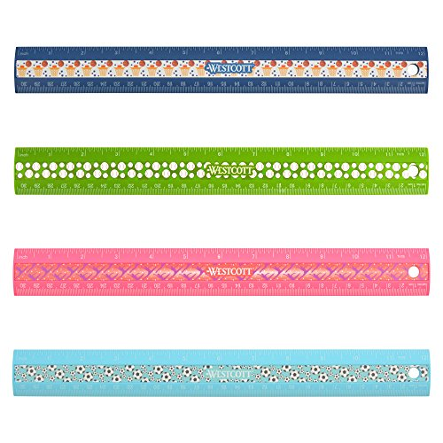 Westcott Kid's Sports Ruler Assortment, 12-Inch, Color Varies, Case of 72 (500-67210) by Westcott