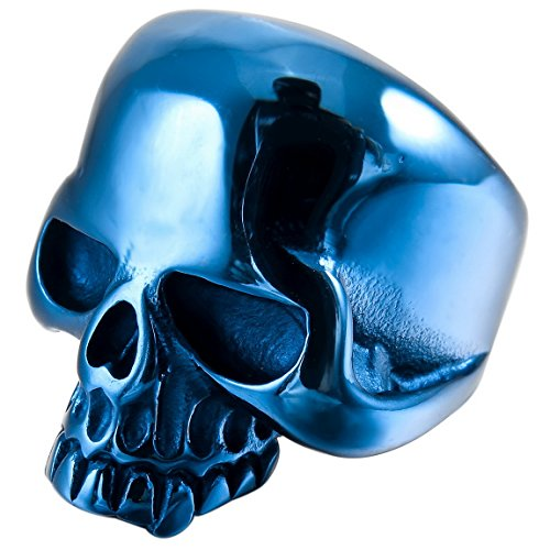 INBLUE Mens Stainless Steel Skull