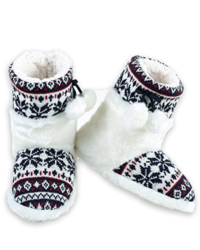 Iconoflash Mujeres Faux Fur Fair Isle Sweater Punto Knit Botaie Slipper Azul Marino Copo De Nieve