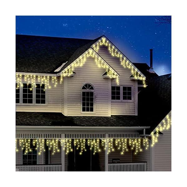 500 LED Tenda luminosa, Luci natalizie per interni e esterni,bianco Caldo con 8 modalità luce/timer, Memoria, trasformatore incluso, 17 M lunghezza- Cavo transparente 7 spesavip