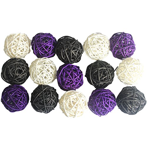 15PCS Mixed Purple Black White Decorative Wicker Rattan Ball Sphere Craft Vase Bowl Filler Halloween Themed Party Birthday Centerpieces Garden Xmas Ornament Pet Toy ()