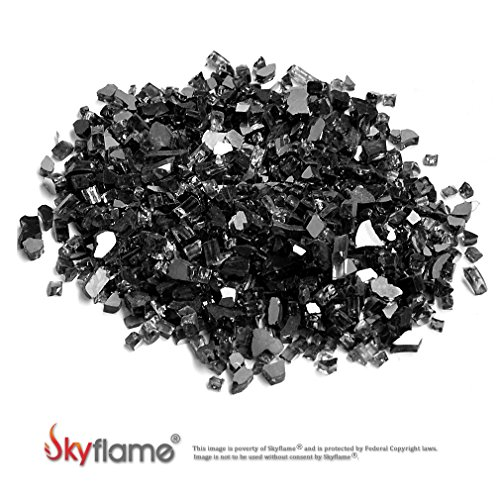 Skyflame 10-Pound Fire Glass for Fireplace Fire Pit and Landscaping, Onyx Black Reflective, 1/4-Inch