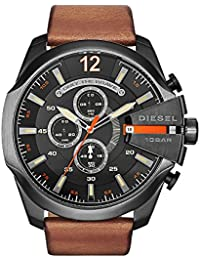 Men's DZ4343 Mega Chief Gunmetal Brown Leather Watch